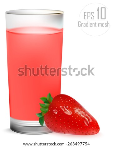 Full glass of strawberry juice with strawberries - stock vector