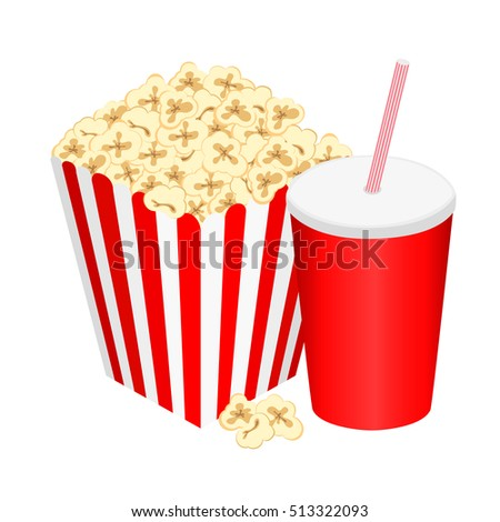 full glass with drink and popcorn, vector illustration