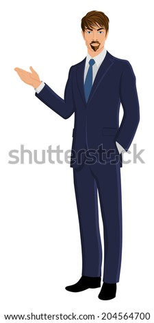 Full length body business man isolated on white background showing hand vector illustration - stock vector