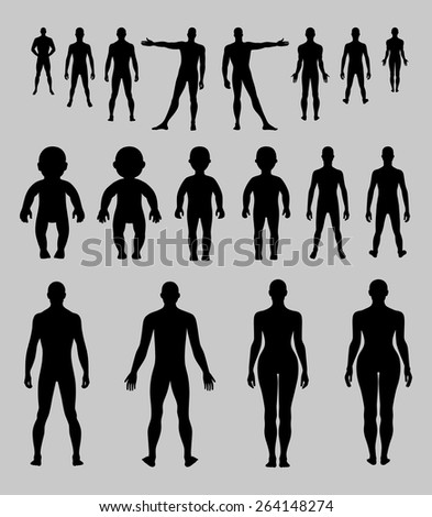 Full length front, back human silhouette vector illustration, isolated on grey background