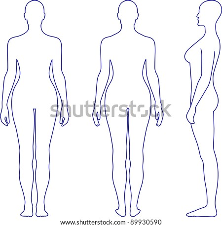 Full length front, back, side view of a standing naked woman. You can use this image for fashion design and etc. - stock vector