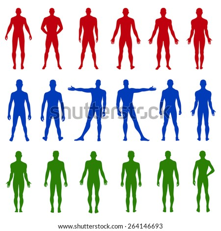 Full length front, back silhouette of man vector illustration, isolated on white