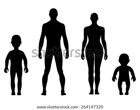 Full length front human silhouette vector illustration, isolated on white - stock vector