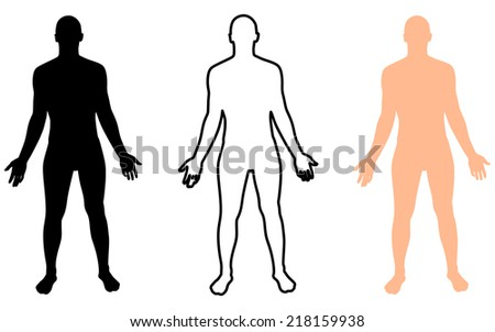 Full length front view of a standing naked man, male body silhouette - stock vector