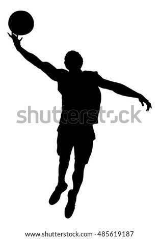 Full length of silhouette basketball player playing against white background. Vector image