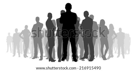 Full length of silhouette business people with arms crossed standing against white background. Vector image - stock vector