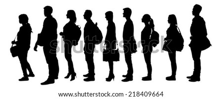 Full length of silhouette college students standing in line against white background. Vector image - stock vector