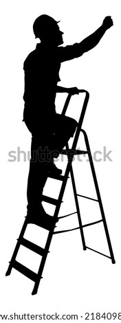 Full length of silhouette construction worker climbing on ladder against white background. Vector image - stock vector