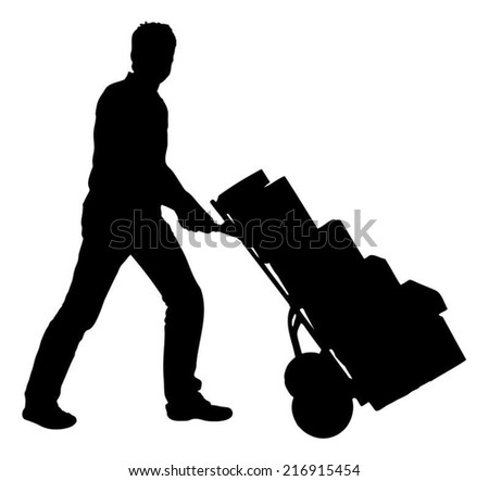 Full length of silhouette delivery man pushing handtruck with packages against white background. Vector image - stock vector