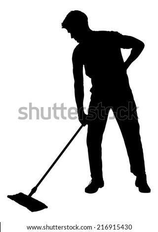 Full length of silhouette man sweeping floor with mop over white background. Vector image - stock vector