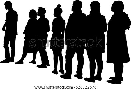 Full length of silhouette people standing in line against white background. Vector image