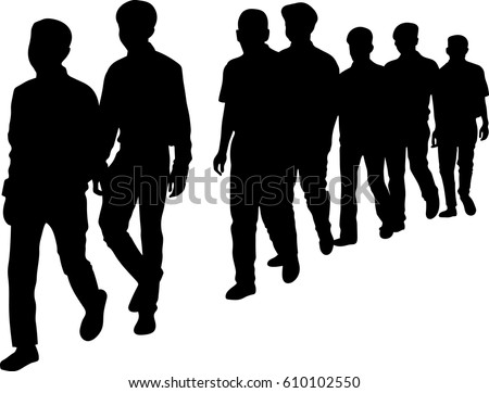 Line of people silhouette