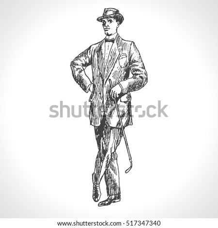 Full length portrait of a gentleman in a suit with cane. Elegant proud man. Hand drawn vector illustration in vintage engraved style