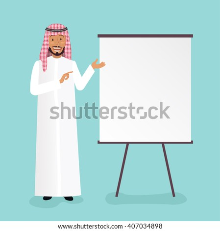 Full length portrait of a handsome arabic businessman making presentation on flipchart over blue background. Vector flat illustration of business plan. Eps 8 - stock vector
