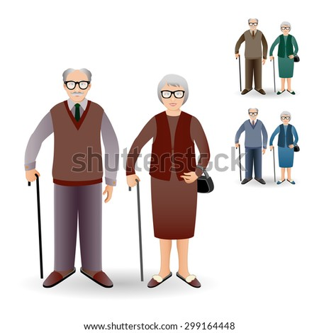 Full length portrait of an handsome old man standing with cane and nice old woman standing with cane. Family. Grandfather and grandmother. Realistic image. - stock vector