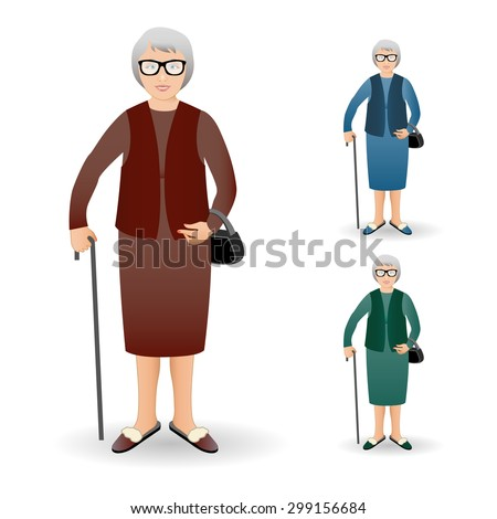 Full length portrait of an nice old woman standing with cane isolated on white background. Vector illustration.Realistic image. Full body woman isolated on white background. - stock vector