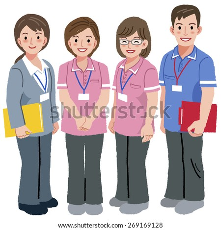 Full length portraits of geriatric care manager and three social workers  in white background. - stock vector