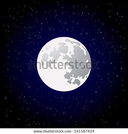 Full moon and shining stars on dark blue sky. Vector EPS10. - stock vector