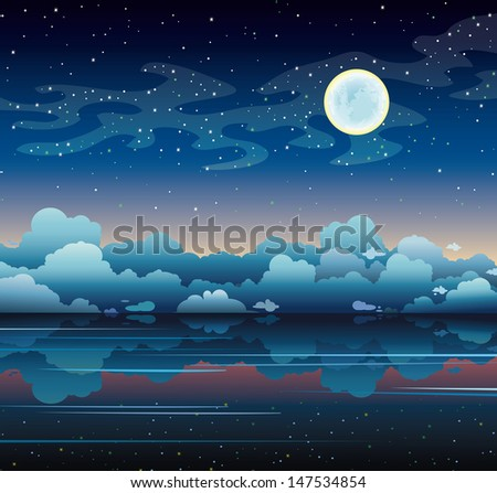 Full moon and smooth sea on a night starry sky with milky way