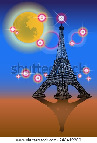 Full moon and the Eiffel Tower at night. - stock vector