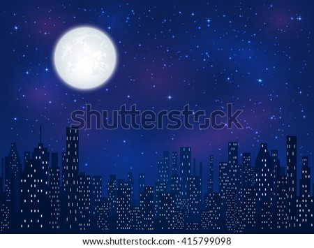 Full moon in the night sky with shining stars over the city, illustration. - stock vector