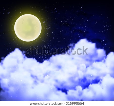 full moon on a cloudy night sky - stock vector