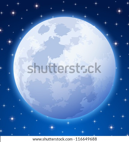 Full moon on starry night sky background - stock vector