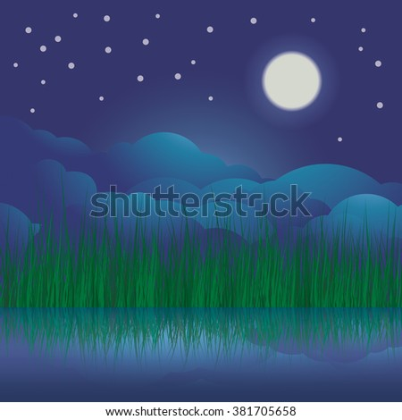 Full moon, star and lake. The Night landscape moon sky and riverside.Vector illustration - stock vector