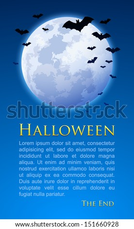 Full moon with bats on Halloween night document template - stock vector