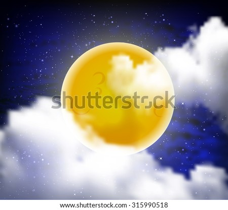 full moon with clouds at night starry sky - stock vector