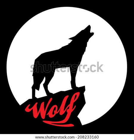 Full Moon with Howling Wolf Silhouette - stock vector