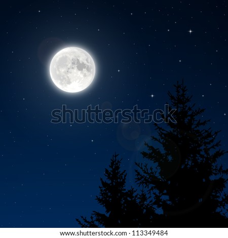 Full moon with lens flare vector - stock vector