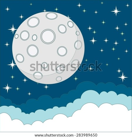 Full moon with space for text in the clouds.Stock Vector Illustration  - stock vector