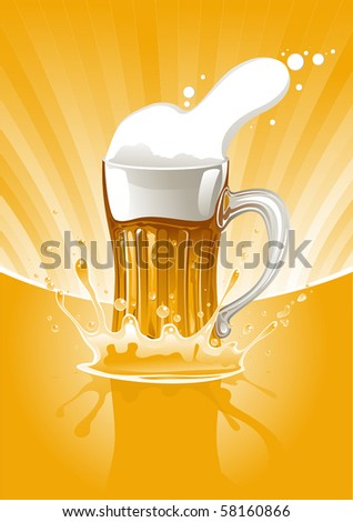 full mug fresh beer on gold background - stock vector