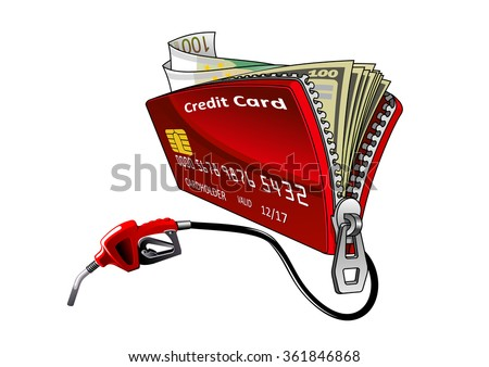 Full of money open red credit card with connected gasoline pump nozzle. Oil industry, banking service, oil price or filling station theme design usage - stock vector
