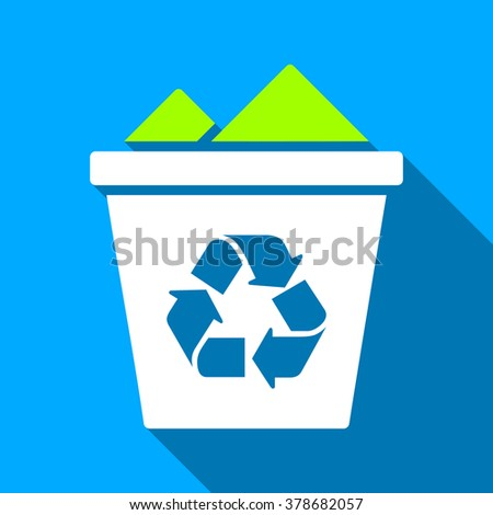 Full Recycle Bin long shadow vector icon. Style is a flat light symbol with rounded angles on a blue square background.