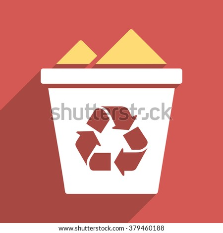Full Recycle Bin long shadow vector icon. Style is a flat light symbol with rounded angles on a red square background.