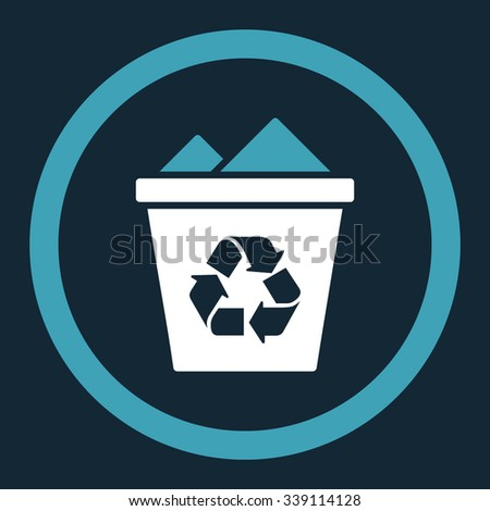 Full Recycle Bin vector icon. Style is bicolor flat rounded symbol, blue and white colors, rounded angles, dark blue background.