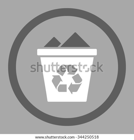 Full Recycle Bin vector icon. Style is bicolor flat rounded symbol, dark gray and white colors, rounded angles, silver background.