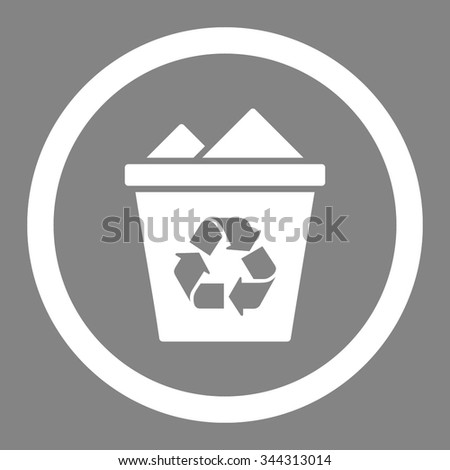 Full Recycle Bin vector icon. Style is flat rounded symbol, white color, rounded angles, gray background.