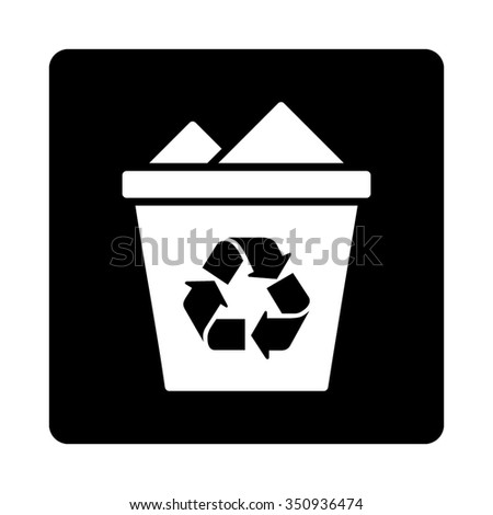 Full Rubbish Basket vector icon. Style is flat rounded square button, white and black colors, white background.