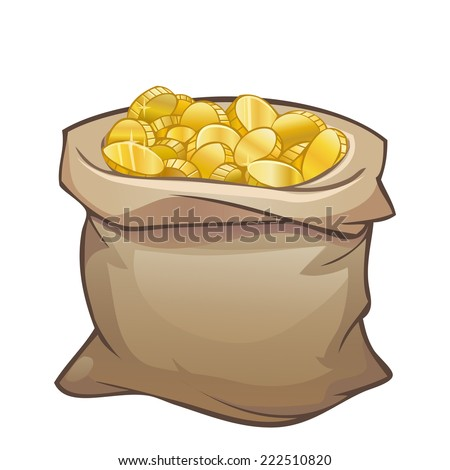 Full sack of golden coins isolated on white - stock vector