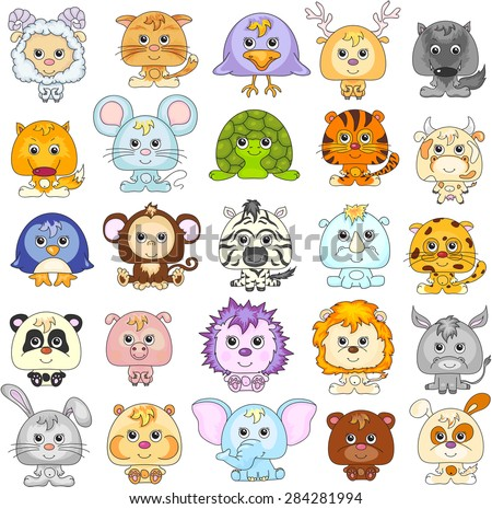 Full set of funny cartoon animals. Vector illustration.