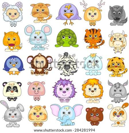 Full set of funny cartoon animals. Vector illustration. - stock vector