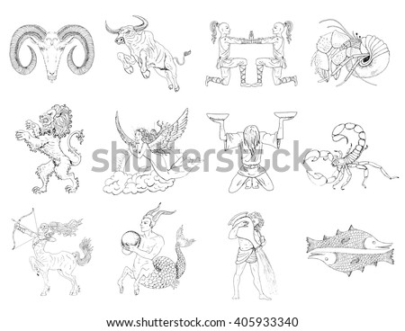 Full set of twelve hand drawn zodiac signs. Line art vector illustration of engraved horoscope symbols. Astrological doodle drawing and art sketch isolated on white.  - stock vector