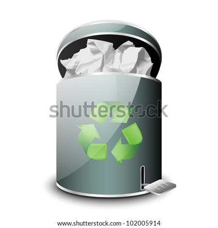 Full Trash Bin Icon. Vector - stock vector