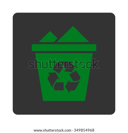 Full Trash Can vector icon. Style is flat rounded square button, green and gray colors, white background.