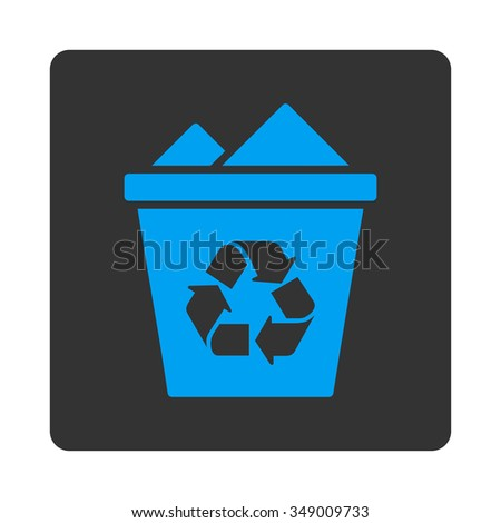 Full Trashcan vector icon. Style is flat rounded square button, blue and gray colors, white background.