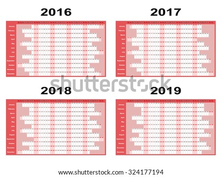 Full year wall planners for 2016, 2017, 2018 and 2019. Vector illustration