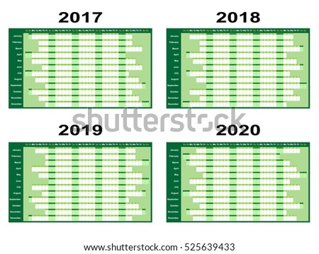 Full year wall planners for 2017, 2018, 2019 and 2020. Vector illustration